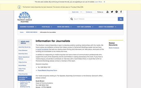 Screenshot of niassembly.gov.uk - Information for Journalists - captured April 13, 2016