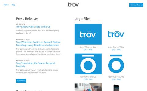 Screenshot of Press Page trov.com - Media Relations | Trōv - captured Sept. 17, 2014