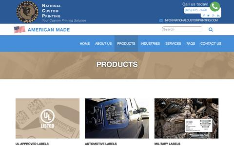 Screenshot of Products Page nationalcustomprinting.com - product Archive - National Custom Printing - captured Dec. 21, 2016