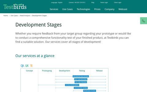 Development Stages   Testbirds