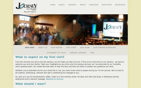 Screenshot of FAQ Page journeyfellowshipchurch.com - New Here — Journey - captured Sept. 30, 2014