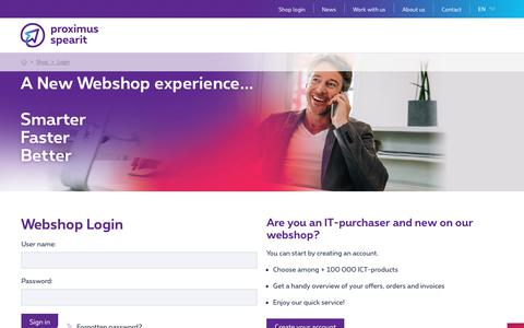 Screenshot of Login Page proximus-spearit.be - Proximus SpearIT - Proximus SpearIT, your ICT specialist - captured Oct. 5, 2018