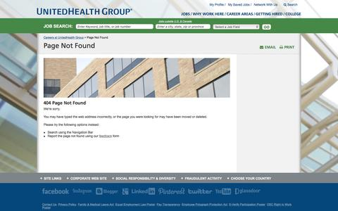 Screenshot of Jobs Page unitedhealthgroup.com - Page Not Found - captured Oct. 31, 2016