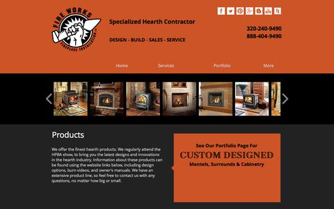 Screenshot of Products Page fire-works-fireplace.com - Products | Fire Works Fireplace | Fireplaces Stoves Inserts & More |MN - captured June 6, 2017
