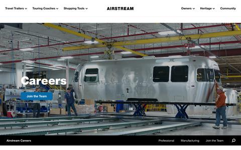 Screenshot of Jobs Page airstream.com - Careers | Airstream - captured Jan. 19, 2020