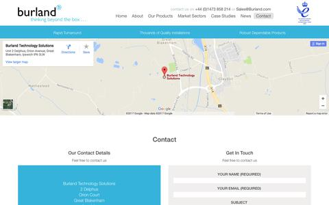 Screenshot of Contact Page burland.com - Contact - Burland - captured Oct. 11, 2017
