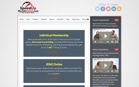 Screenshot of Pricing Page speedupmyjobsearch.com - Member Options   Home - captured Dec. 1, 2016
