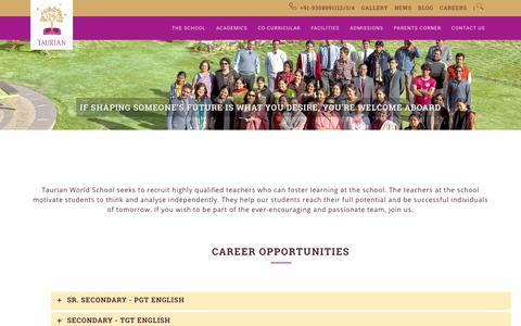 Screenshot of Jobs Page tws.edu.in - Careers   Taurian World School - captured Nov. 6, 2017