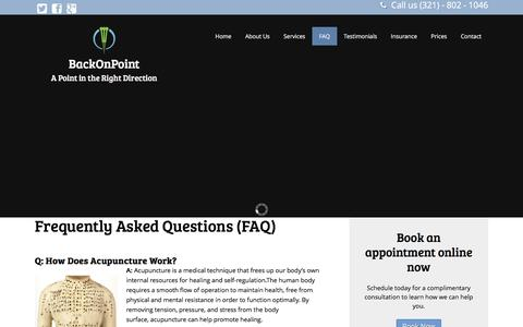 Screenshot of FAQ Page backonpoint.com - Frequently Asked Questions (FAQ) - Acupuncture Holistic Medicine Clinic Serving Brevard County - captured Feb. 7, 2016