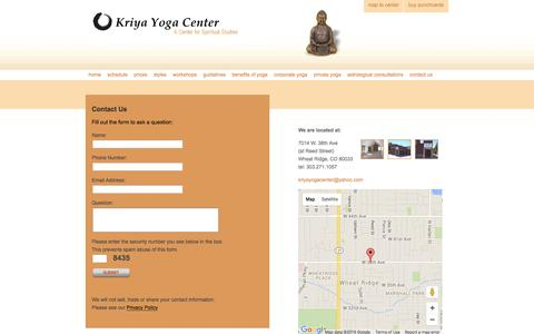Screenshot of Contact Page Maps & Directions Page kriyayogacenter.com - Contact Information & Map | Kriya Yoga Center - Wheat Ridge, Colorado - captured June 13, 2016