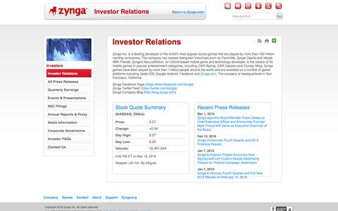 Zynga - Investor Relations