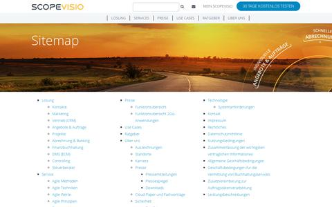 Screenshot of Site Map Page scopevisio.com - Sitemap | Scopevisio AG - captured Feb. 16, 2018