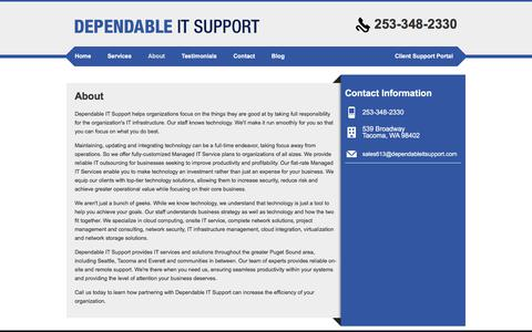 Screenshot of About Page dependableitsupport.com - About | Dependable IT Support - captured Aug. 6, 2018