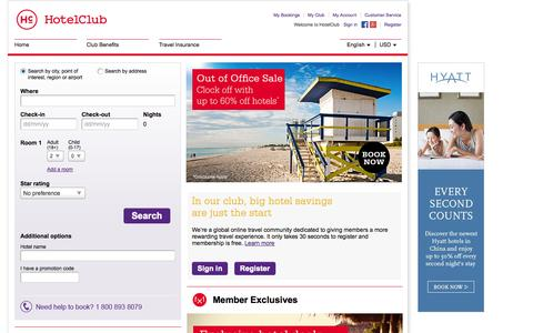 Screenshot of Home Page hotelclub.com - Find Cheap Hotels & Accommodation Deals with HotelClub.com - captured Sept. 18, 2014