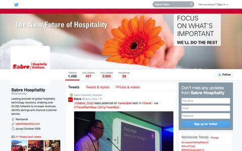 Screenshot of Twitter Page twitter.com - Sabre Hospitality (@SabreHosp) | Twitter - captured Oct. 22, 2014