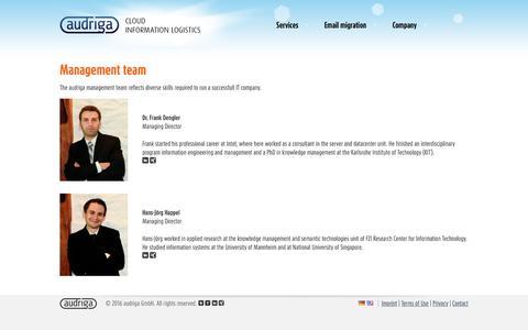Screenshot of Team Page audriga.com - Team: audriga cloud information logistics - captured Nov. 21, 2016