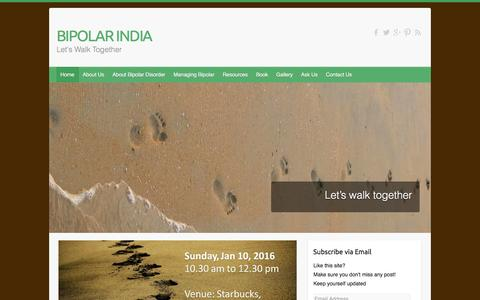 Screenshot of Home Page bipolarindia.com - BIPOLAR INDIA | Let's Walk Together - captured Jan. 19, 2016