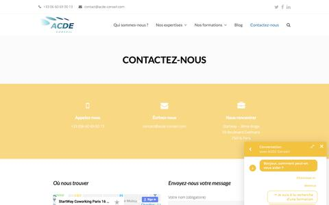 Screenshot of Contact Page acde-conseil.com - Contactez-nous | ACDE Conseil - Conseil en Management - captured Dec. 9, 2018