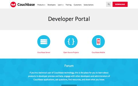 Screenshot of Developers Page couchbase.com - Developer Portal - captured Oct. 28, 2014