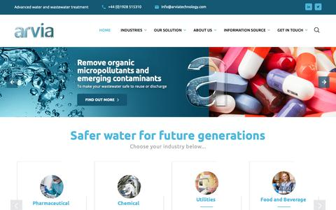 Screenshot of Home Page arviatechnology.com - Arvia Technology - Treating water and wastewater - captured Oct. 4, 2018