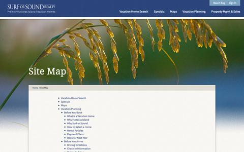 Screenshot of Site Map Page surforsound.com - Site Map - Surf or Sound - Cape Hatteras, Outer Banks NC Vacation Rentals - captured Oct. 18, 2018