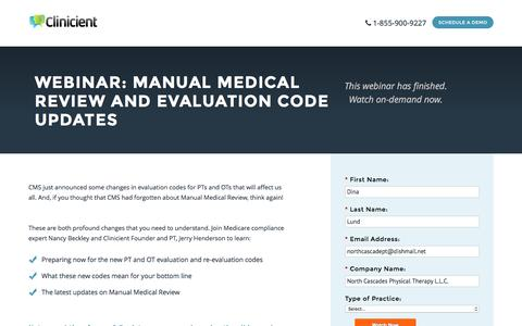 Screenshot of Landing Page clinicient.com - Manual Medical Review and Evaluation Code Updates - captured Oct. 19, 2016