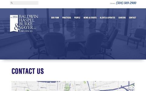 Screenshot of Contact Page bhbmlaw.com - Contact Us - Baldwin, Haspel, Burke & Mayer - captured Feb. 7, 2016