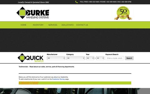 Screenshot of Testimonials Page burkehandling.com - Industrial Equipment Testimonials | Read about our Mississippi dealership's sales, service & parts departments. Forklifts, lift trucks & more. | Burke Handling Systems Inc. - captured Oct. 11, 2017