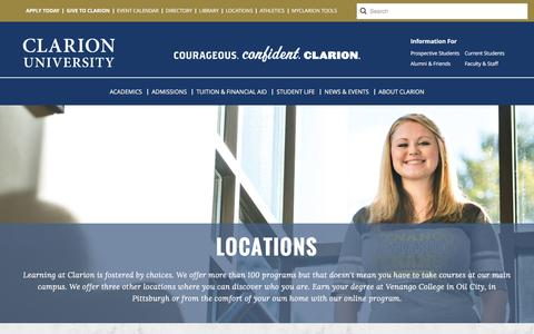 Screenshot of Locations Page clarion.edu - Locations - captured Jan. 28, 2016