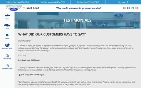 Screenshot of Testimonials Page tusketford.ca - Testimonials | Tusket Ford  Dealer | Tusket Ford Sales & Service - captured Dec. 2, 2016