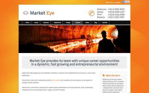 Screenshot of Jobs Page marketeye.com.au - Careers - Market Eye - captured Sept. 30, 2014