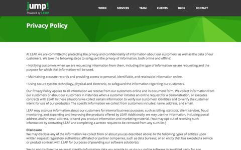 Screenshot of Terms Page jumpbyleap.com - Privacy Policy - Small Business Online Marketing | Jump by LEAP - captured Oct. 10, 2014