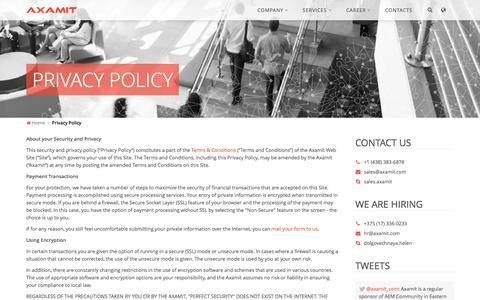 Screenshot of Privacy Page axamit.com - Privacy Policy — Axamit | Certified Adobe Experience Manager Development Center - captured Oct. 9, 2017