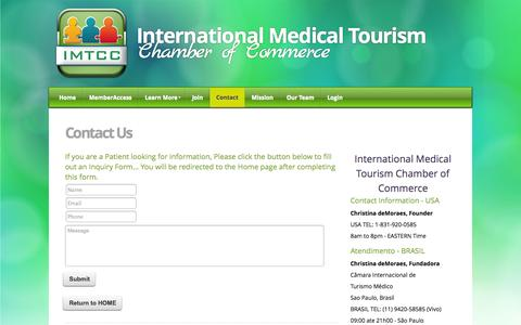 Screenshot of Contact Page imtcc.org - International Medical Tourism Chamber of Commerce - Contact - captured Oct. 3, 2014
