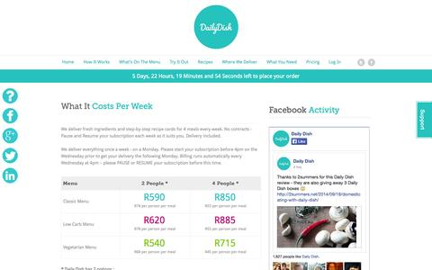 Screenshot of Pricing Page dailydish.co.za - Pricing - Daily Dish - captured Sept. 19, 2014