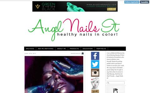 Screenshot of Home Page angelnailsit.com captured June 19, 2015