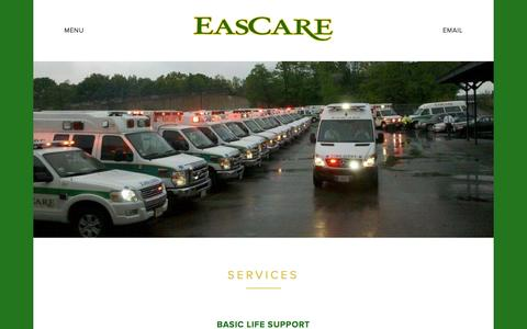 Screenshot of Services Page eascare.com - Services — EasCare - captured Jan. 24, 2016