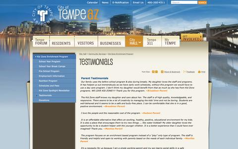 Screenshot of Testimonials Page tempe.gov - City of Tempe, AZ : Testimonials - captured Jan. 21, 2016
