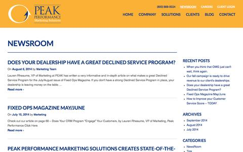 Screenshot of Press Page gotopeak.com - NewsRoom Archives - Peak Performance - captured Oct. 2, 2014