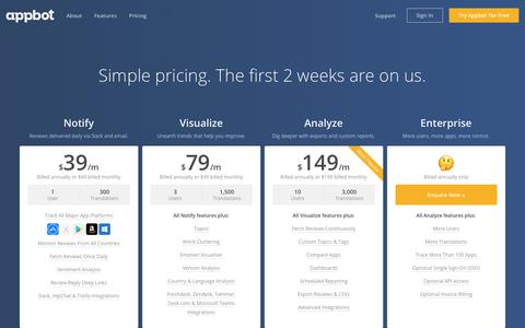Screenshot of Pricing Page appbot.co - Plans and Pricing - Appbot - captured Aug. 13, 2017