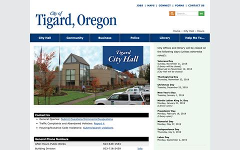 Screenshot of Contact Page Hours Page tigard-or.gov - Building Locations and Hours of Operation - captured Sept. 28, 2018