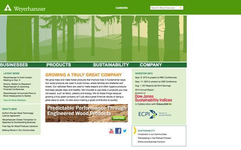 Screenshot of Home Page weyerhaeuser.com - Weyerhaeuser - captured Sept. 23, 2014