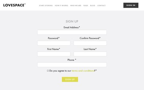 Screenshot of Signup Page lovespace.co.uk - Sign-Up | LOVESPACE - captured July 19, 2014