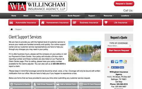 Screenshot of Support Page willinghamagency.com - Client Support Services for Willingham Insurance Agency in Ballinger Texas - captured Oct. 19, 2018