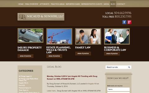 Screenshot of Blog nslawla.com - Legal Blog | Nicaud & Sunseri, LLC - captured Oct. 26, 2014