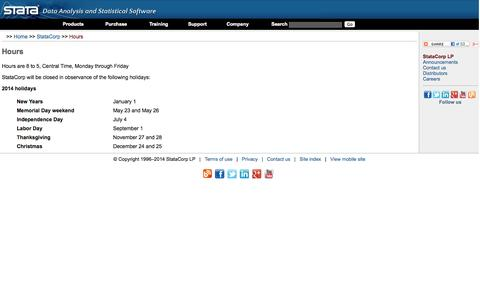 Screenshot of Hours Page stata.com - Stata| Company hours and holidays - captured Sept. 25, 2014
