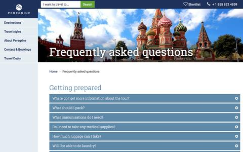 Screenshot of FAQ Page peregrineadventures.com - Frequently asked questions | Peregrine Adventures US - captured Jan. 12, 2017