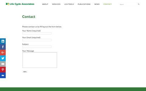 Screenshot of Contact Page lifecycleassociates.com - Contact - captured May 18, 2017