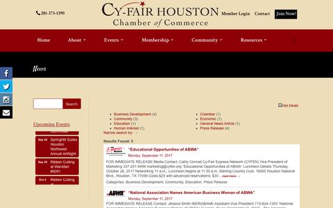 Screenshot of Press Page cyfairchamber.com - News - Template2 | Cy-Fair Houston | Chamber of Commerce - captured Sept. 19, 2017