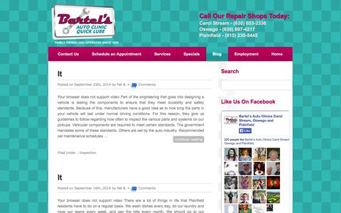 Screenshot of Blog bartelsautoclinics.com - Blog | bartelsautoclinics - captured Sept. 30, 2014
